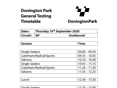 Testing @ Donington 10th September 2020